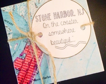 Stone Harbor NJ Vintage Map Stone Coasters - Free Shipping