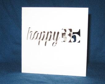 Custom Happy Birthday Card, Hand Cut Card