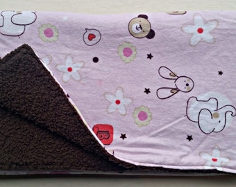 Pink Flannel and Brown Fluffy Fleece Baby Girl Blanket