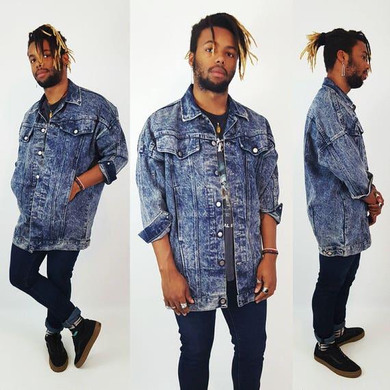 90's Long Denim Jacket Large Acid Wash - Americana Soft Slouchy Blue Jean Jacket - Gray Denim Classic Vintage 1990s Unisex Coat