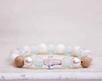 Swarovski Cross Bracelet, Pearls Bracelet, Protection Gemstones bracelet, Crystal Balance Protection Bracelet,Jasper Bracelet,Agate Bracelet