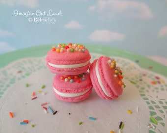 Faux Macaron Set Pink with Sprinkles Birthday Celebration Fake Food Kitchen Prop