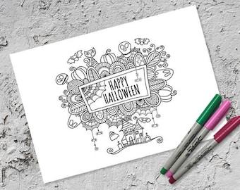 Halloween Colouring Page | Instant Digital Download | Original Doodle Design