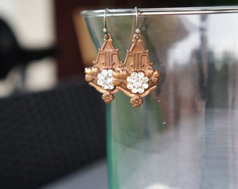 Antique Assemblage Earrings with Old Gingerbread Brass and Rhinestones