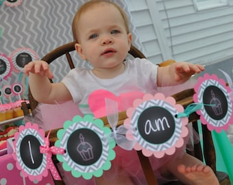 1st Birthday Highchair Banner - Girls 1st Birthday Decorations - Chalkboard with Gray Chevron - Pink & Mint Green