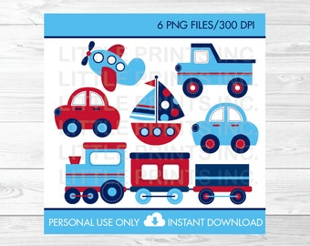 Transportation Vehicles Trains and Planes Car Truck Sailboat Clipart PERSONAL USE Instant Download A423