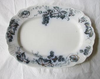 "Antique 14.25"" Oval Platter, Alfred Meakin BRAMBLE Flow Green Gold Trim c 1890s"