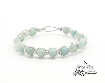 Aquamarine amazonite gemstone bangle bracelet, aquamarine jewelry, blue bracelet, wire wrapped jewelry, beaded bangle