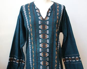 Embroidered Guatemalan Tunic with Long Sleeves, Size Large