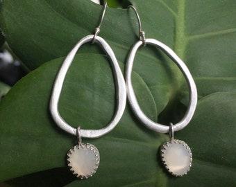 Organic Moonstone Teardrop Earrings