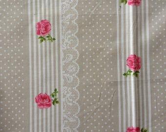 coupon fabric patchwork 25 X 25 cm / beige lace