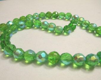 44 Green AB Glass Beads Jewelry Making Supplies Jenuine Crafts