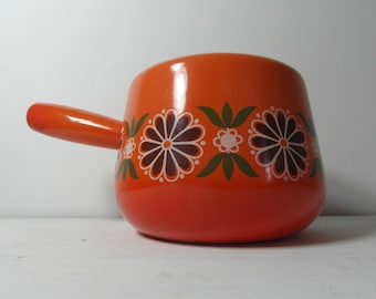 Retro enamelware cooking pot. Made in France by Aubeco, orange with brown, green & white floral. French enamelware.
