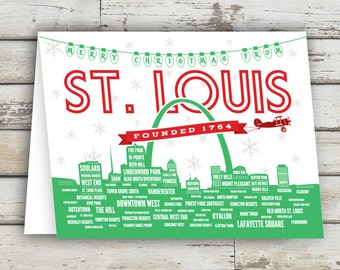 Merry Christmas from STL, Merry Christmas St Louis, St Louis Greeting Card, St Louis, Saint Louis, St Louis Holiday, Christmas Card, STL