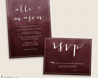BURGUNDY - DIY Printable Wedding Set - Invitation and Reply Card - Painted Watercolor with Modern Calligraphy - Double Sided