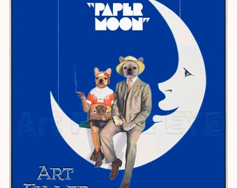 LARGE Paper Moon Movie Poster Print- Fawn-Cream-White French Bulldog Wall Anthropomorphic Art Illuistration