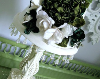 Lamp Shade Velvet Millinery Flowers Lush Custom Shade Romantic Vintage Style Shabby Chic Cottage Victorian French Farmhouse Style