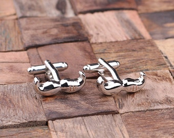 Mustache Personalized Men's Classic Cuff Links Monogrammed Engraved Groomsmen, Best Man, Father's Day Gift