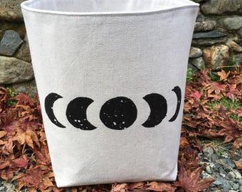 Moon Phases Canvas storage bin- canvas storage basket- moon phases basket