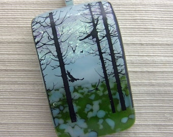 Peaceful Forest Pendant, Fused Glass Jewelry Handmade in North Carolina
