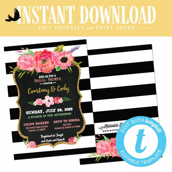 Rehearsal dinner invitation black white stripe floral chalkboard couples shower bridal birthday diaper wipes brunch editable | 363 Katiedid