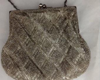 LaRegale Beaded Evening Bag Vintage Beaded Purse Prom Purse Small Silver Beaded Bag Wedding Purse