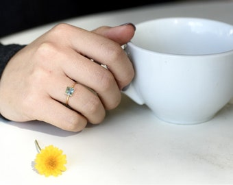 Gold Stacking Ring, Unique Stacking Ring, Stone Stacking Ring, Ring for Women, Square Solitaire Ring, Square Ring, Thin Stackable Ring, CZ