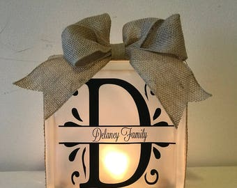 Personalized Lighted Glass Block - Last Name - Family - Custom - Frosted - Accent - Lamp