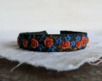 Floral Cuff Bracelet - Hand Embroidered Jewelry - Orange and Blue Flowers on Black Linen Cuff Bracelet