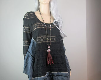 Lagenlook Boho Tunic Black Lace and Silk Loose Flowing with Ruffles One Size Fits S - L