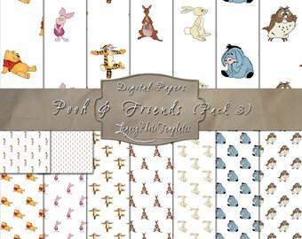 Pooh & Friends - Digital Scrapbooking Paper Pack