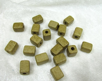 Greek ceramic rectangle beads in light Olive