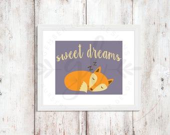 Sweet Dreams | Fox | Nursery Art | Wall Art | Subway Art | Nursery Decor | 5x7 | 8x10 | 11x14 (GL000084)
