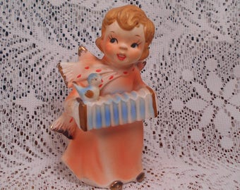 Vintage Angel with Accordian and Bird Figurine