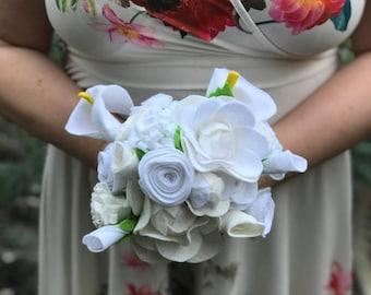 White Bride Bouquet, Felt Wedding Bouquet, Felt Bouquet, Keepsake Bouquet, Felt Flowers, Flower Bouquet, Alternative Bouquet, Boho Bouquet