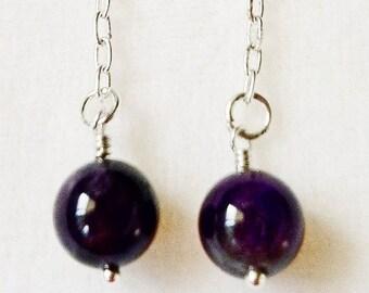 Genuine Amethyst Beads on Silver Chain Earrings