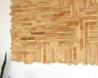 Cross grain wood mosaic //  wood assemblage