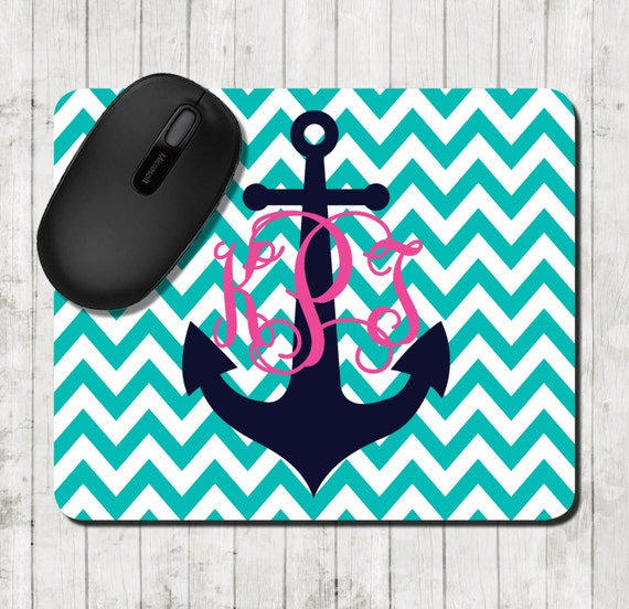 Nautical Mouse Pad  Personalized Mousepad Chevron Preppy Office Gifts Anchor Mouse Pad Custom Office Decor Monogrammed Gifts for Coworkers
