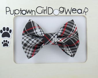 Bow Tie Dog Bow Tie Cat Bow Tie Pet Bow Tie Red Black Plaid Bow Tie Holiday Bow Tie Photo Prop