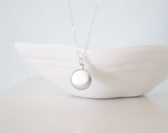 Tiny locket necklace on sterling silver chain, gift for her