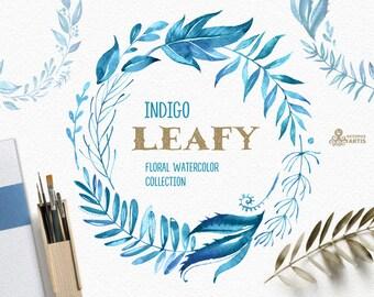 Leafy Indigo. Watercolor floral wreaths, branches, leaves, frames, blue ink, wedding invitation, greeting card, diy clip art, leaf