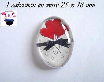 1 cabochon glass 25mm x 18mm puffed heart theme