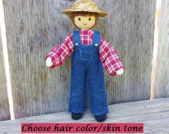 Farmer Doll - Dollhouse Doll - Dollhouse People - Wooden Toy Farm - Bendy Doll - Wool Felt