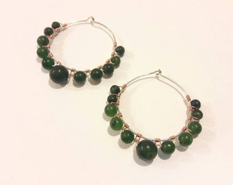 Large Hoop Earrings with Green Agate Gemstones Wire Wrapped in Silver and Copper, Handmade, Modern Gypsy Style