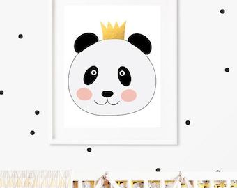 Panda Nursery Print, instant download, panda with crown