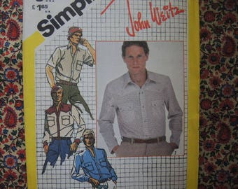 vintage 1980s Simplicity sewing pattern 5439 John Weitz Mens shirt size 44 UNCUT