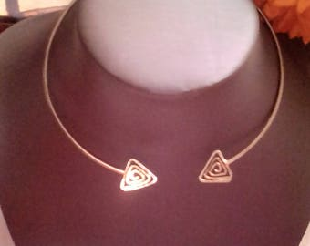 Triangle sterling silver torque