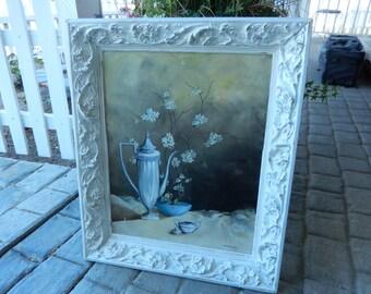 Painting on Canvas - White Shabby Frame - Carved Wood Frame - Cottage Style Frame - Large Shabby Frame - Large Vintage Frame