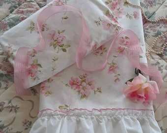 Vintage, 2 pc set, Pink Flowers, Ruffled, (Twin) Flat Sheet and Fitted Sheet, Burlington House, Twin Bedding Girl, Shabby Chic Bedding