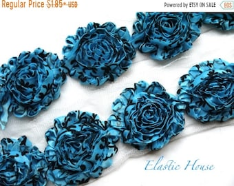 """ON SALE 30% OFF Sale 2.5"""" Shabby Rose Trim- Blue/Turquoise Damask - Chiffon Trim - Hair Acessories Supplies"""